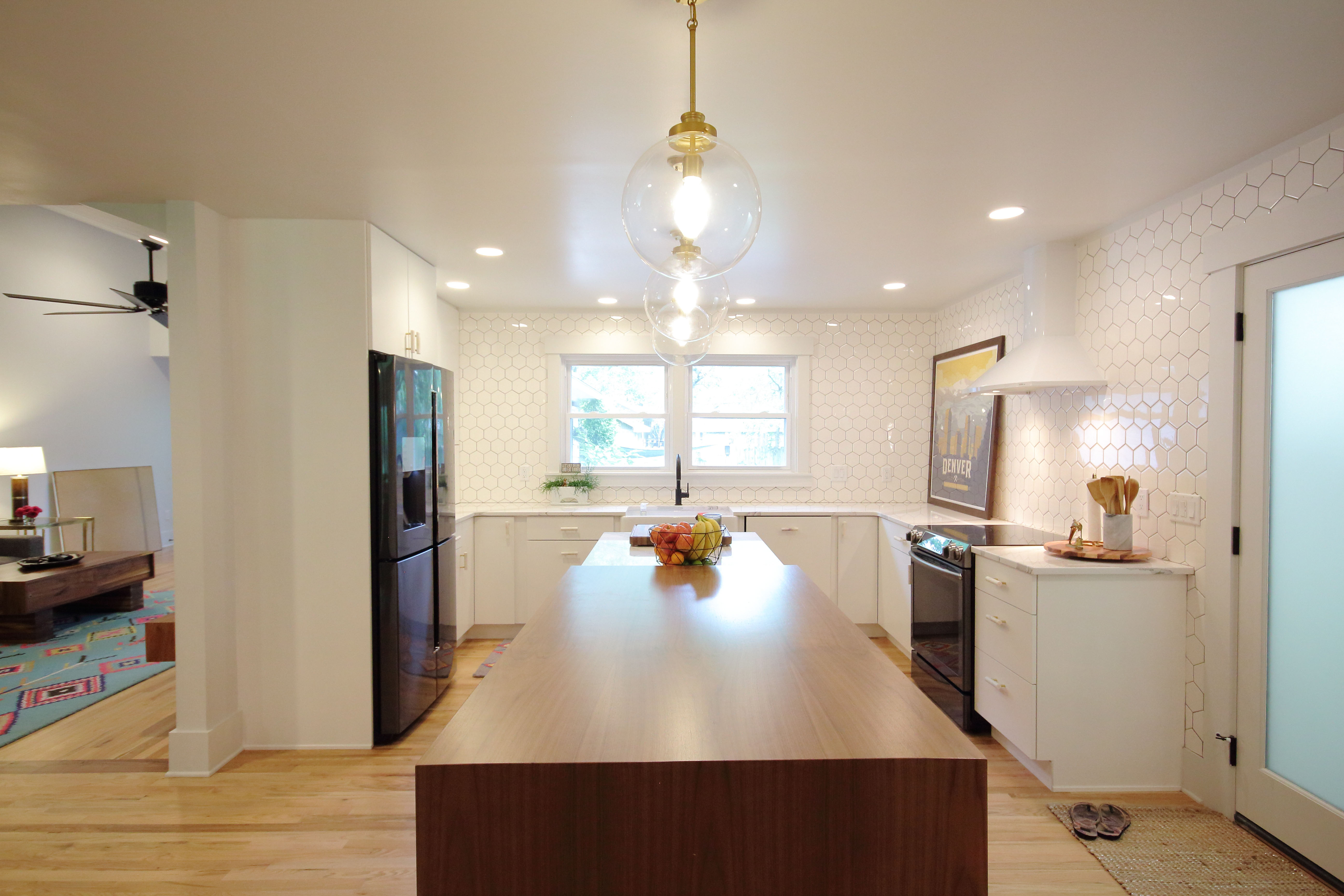 remodeled kitchen project with wood floors